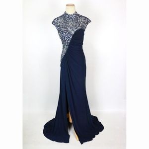 NWT Jovani Navy Beaded Ruched-Bodice Slit-Skirt